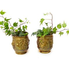 Pair Vintage Brass Planters Lombard England by OceansideCastle
