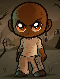how to draw chibi t-dog, the walking dead