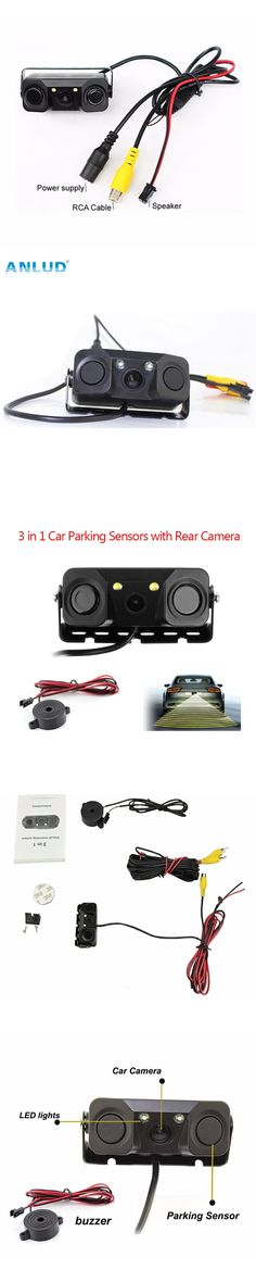 ANLUD PZ451 3 in 1 Car Parking Sensors with Rear Camera No Drill No Damage to Car LED Light Sensor Detector Buzzer Alarm Park