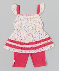 Loving this Coney Island Kids Fuchsia Angel-Sleeve Tank & Fuchsia Leggings - Infant & Toddler on #zulily! #zulilyfinds