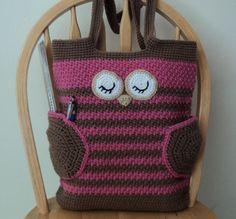 Sleepy Owl Bag - PDF Pattern by Karla Sandoval #crochet #crochetpatterns