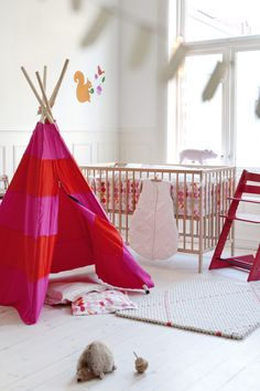 "Stokke Sleepi & Tripp Trapp Chair – Add a playful teepee space for a child's own personal ""Big Top"" tent ! Girl Nursery, Girl Room, Girls Bedroom, Baby Room, Tripp Trapp Chair, Teepee Tent, Everything Baby, Nursery Inspiration, Baby Girl Nurserys"