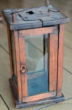 Antique Primitive Wooden Barn Lantern Candle Holder 8 1 4 Tall x 4 1 2 Wide   eBay