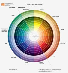 COOL and WARM. True tints, tones, shades of 12 pure hues - 12 artistic colour wheel with tints, tones, pure hues, shades. Generaly are warm colours yellow, orange, red and their mixed colour hues: orange-yellow, yellow-orange, orange-red, red-orange. Green is generaly cool colour, but yellow-green is warm. Cool colours are generaly violet/purple, blue and green.