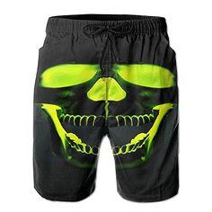 Green Cannabis Novelty Quick Dry Swim Mens Shorts Adjustable Microfiber
