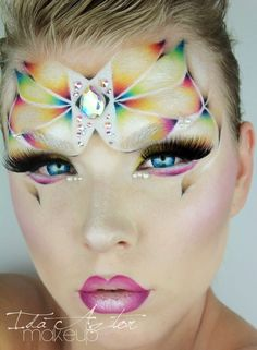 Crystal accented artistic and extremely colorful fantasy  make-up titled 'Watercolor Butterfly' by Ida Aztor.
