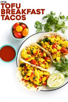 Healthy 8-ingredient TOFU breakfast tacos (life firm tofu, nutritional yeast, fat free tortillas)