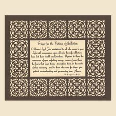 Addiction Prayer Paper Cut Mat Border - 8x10 Unframed. $20.00, via Etsy.