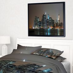 Designart 'Evening New York Panorama' Cityscape Framed Canvas Art Print Framed Canvas Prints, Canvas Frame, Industrial Architecture, Thing 1, Floating Frame, Wall Spaces, Rustic Furniture, Rustic Decor, Fall Decor