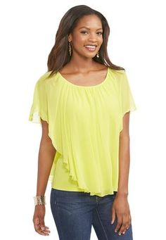Cato Fashions Ruffled Capelet Top-Plus #CatoFashions