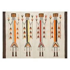 An antique Navajo-style kilim rug featuring yei figures on an ivory field. Some color run in background. Native American Rugs, American Art, Navajo Style, Rug Studio, Southwestern Art, Interior Rugs, Navajo Rugs, Sand Painting, Indian Rugs