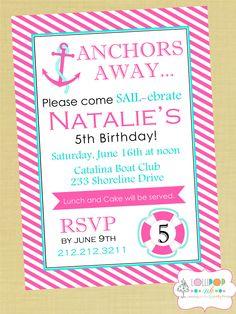 Girl Nautical Printable Invitation, Anchors Away girl  Personalized Birthday Invite, Preppy Nautical Pink. $12.00, via Etsy.