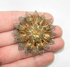 Vermeil Filigree Brooch, Sterling Silver Brooch Pin, Vermeil Jewelry Jewellery, Fine 1920s Jewellry, Collectible Fashion Pin, Art Deco -Great vintage condition! Delicate and fine craftsmanship. Vermeil over silver, circa 1920s, unsigned and is estate vintage. Thank you for viewing! Please