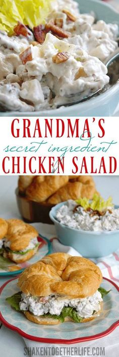 My Grandma's Secret Ingredient Chicken Salad recipe is one of her most requested! This easy elegant chicken salad is perfect for lunch, brunch, showers and potlucks! Secret Ingredient Chicken Salad Linda Clausen HiLindaCClausen Salad Recipes My Gra Turkey Recipes, Lunch Recipes, Cooking Recipes, Healthy Recipes, Yummy Recipes, Juicer Recipes, Fast Recipes, Meat Salad, Soup And Salad