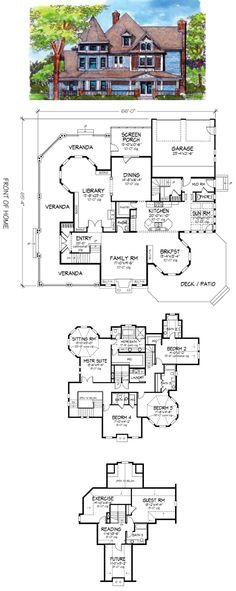 Classic Victorian, love it all but definitely too big. Probably want it a bit more country for a more open layout though ------ Second Floor Plan of Country Victorian House Plan 57563