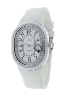 fd3763cec06 Oniss ON626-L WH Women s Watch Oval Ceramic Case Crystal Accented Bezel  White Rubber