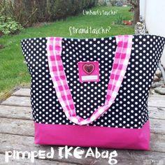 Ikeatsche pimpen Anleitung und Schnitt Strand Tasche / Tasche aus Ikea Tasche nähen