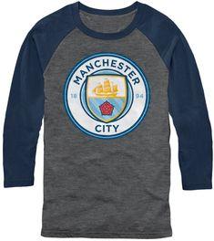 5c45043bb5 Fifth Sun Men's Manchester City Logo Grey/Navy Three Quarter Length T-Shirt