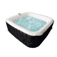 Square Inflatable Hot Tub Spa With Cover - 6 Person - 250 Gallon - Black and White Traditional Hot Tubs, Hot Tub Backyard, Deep Relaxation, Sit Back And Relax, Spa, Black And White, Cover, Blanco Y Negro, Black White