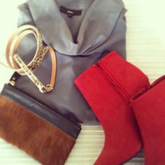 Red suede booties paired with neutrals...