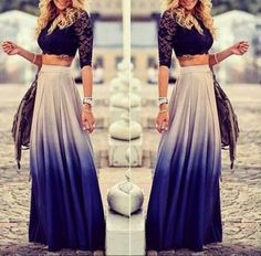 Spring / Summer Outfit - Off White to Blue Ombre Maxi Skirt - Lace Crop Top - LOVE THIS ❤︎