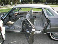 Gray leather interior of a 76 Cadillac Sedan deVille. Body color is Academy Gray metallic.