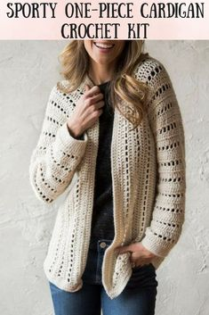 This cardigan is a great piece to layer with. This kit includes everything you need to crochet this beautiful cardigan. Diy Crochet Cardigan, Crochet Coat, Crochet Shawl, Crochet Clothes, Crochet Sweaters, Yarn Inspiration, Clothing Patterns, Crochet Patterns, Crocheting