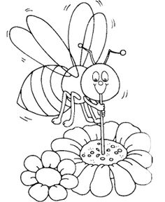 Bee Sucking Honey Coloring Pages Bee Coloring Pages, Coloring Pages For Kids, Coloring Books, Kids Coloring, Busy Bee, Pyrography, Handicraft, Smurfs, Crafts For Kids