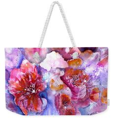 Spring Meadow In Light weekender tote bag from original watercolor paitning by Sabina von Arx, FineArt4You. spring meadow in light, red spring flowers, spring flowers, spring bloomers, spring flower medley, spring meadow, flower meadow, semi-abstract flowers, poppy flowers, poppy flower meadow, red blossoms, blossom medley, expressionist flowers, floral painting, negative painting technique, spring awakening, pink flowers, spring meadow tote bag, spring bathroom, pink bathroom