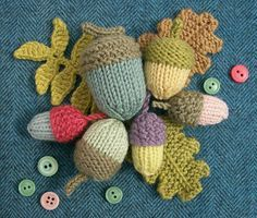 Knit acorns patterns from various sources shown in Knot Garden: September