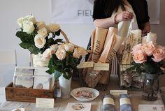 display idea- love the idea of having fresh flowers at display