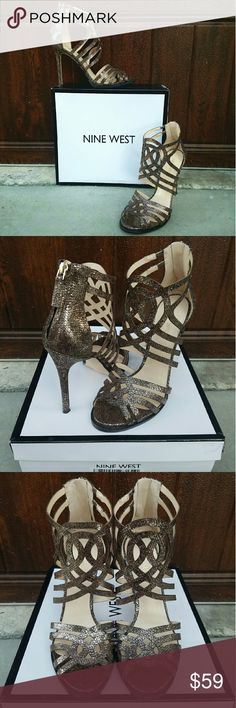 """Gorgeous Sandals by Nine Wesy Wow in these stunning sandals by Nine West in a bronze cracked metallic. These feature a whimsical design & a sexy heel. Perfect for date night, a special occasion or a night out. These are new with box. Heel measures 4.25"""". Nine West Shoes Sandals"""