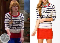 """Cece Jones (Bella Thorne) wears this Nautical C'est La Vie White Navy and Red Crop Sweater, in this week's episode of Shake it Up, """"Oui Oui It Up"""" Fluffy Sweater, Pink Sweater, Cropped Sweater, Cece Shake It Up, Disney Inspired Fashion, Fashion Tv, Oui Oui, Teenager Outfits, Celebrity Style"""