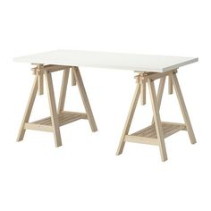 IKEA - LINNMON / FINNVARD, Table, white/birch, , You can choose a flat or tilted table top, which is good for writing, painting or drawing, by adjusting the trestle.Plenty of room on the shelf under the trestle for your printer, books or papers. That keeps your table top clear so you have more room to work.