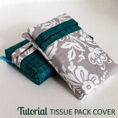 Free Sewing Pattern: Self-Binding Pocket Tissue Pack Cover Sewing Patterns Free, Free Sewing, Sewing Tutorials, Sewing Projects, Sewing Ideas, Diy Projects, Sewing To Sell, Tissue Box Covers, Tissue Holders