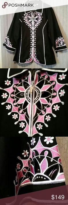 Bob Mackie wearable art jacket size 2X Stunning jacket in black pink and silver still has the plastic on the zipper has never been worn body is 97% cotton 3% spandex embroidery is 97% polyester 3% metallic size 2X Bob Mackie Jackets & Coats
