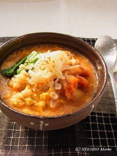 押し麦のとろふわキムチ粥(かゆ) by 庭乃桃   レシピサイト「Nadia   ナディア」プロの料理を無料で検索