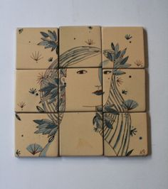 nine tiles resistant to water for decoration by annagrimal on Etsy, $87.00