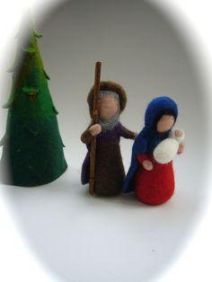 Weihnachtsfiguren - Die Heilige Familie,Krippenfiguren.Gefilzt. - ein Designerstück von Filz-Art bei DaWanda