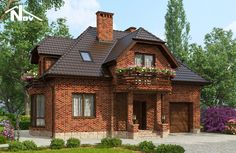 Готовый проект дома Новация№70 House Balcony Design, Country House Design, Country Style House Plans, House In The Woods, My House, Casas Country, Three Bedroom House Plan, Modern Bungalow House, Rustic House Plans