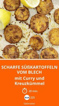 Scharfe Süßkartoffeln vom Blech - mit Curry und Kreuzkümmel - smarter - Kalorien: 225 Kcal - Zeit: 20 Min. | eatsmarter.de