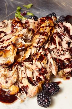 For a simple yet unique pork dinner recipe, look no further. ThisSlow Cooker Pork Tenderloin is fall apart tender and topped with a vibrant Balsamic Blackberry Sauce. Serve this over a fresh salad for a Whole30 Paleo compliant meal. If you are not following a special diet this shredded pork is great on sandwiches or tacos! #whole30recipes #paleo #porktenderloin #slowcooker Healthy Eating Recipes, Keto Crockpot Recipes, Ketogenic Recipes, Slow Cooker Recipes, Ketogenic Diet, Healthy Dishes, Healthy Meals, Healthy Options, Crockpot Meals