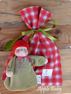Little Cuddle Baby Apple  ORGANIC waldorf doll by MaRiAS Nature TOY'S