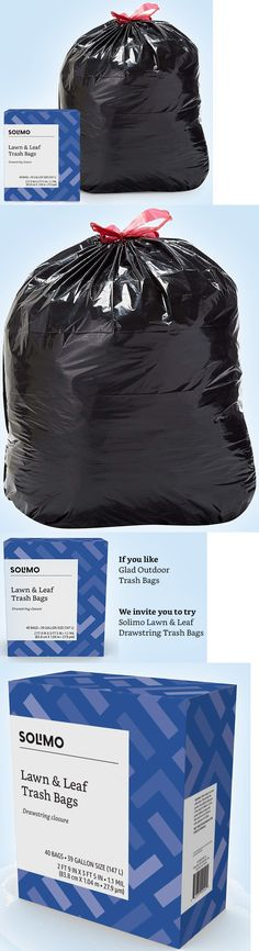 Garden Waste Bags 181024: Amazon Brand - Solimo Lawn And Leaf Drawstring Trash Bags, 39 Gallon, 40 Count -> BUY IT NOW ONLY: $22.5 on #eBay #garden #waste #amazon #brand #solimo #drawstring #trash #count Garden Waste Bags, Lawn, Count, Leaves, Amazon, Outdoor, Ebay, Outdoors, Amazons