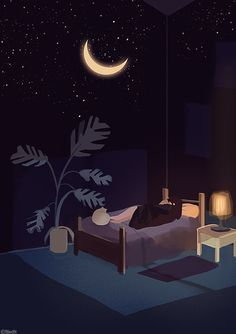 Find images and videos about art, illustration and arte on We Heart It - the app to get lost in what you love. Night Aesthetic, Aesthetic Art, Aesthetic Anime, Children's Book Illustration, Digital Illustration, Anime Scenery Wallpaper, Anime Art Girl, Cute Drawings, Cute Wallpapers