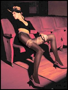 Fashion Model Designer Pantyhose by Trasparenze`  heels head-band Movie Theater / Home theater Sexy people
