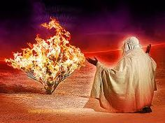 Moses at the burning bush. Take off your shoes, for you are standing on holy ground.