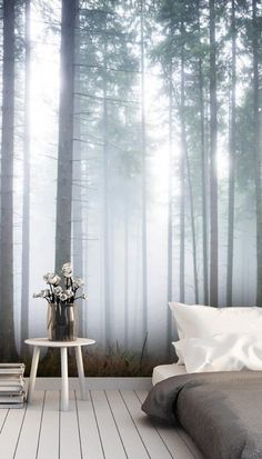 Do you love simple minimalist décor but want to spruce up your wall space? Pair a simple floor mattress bed with this mesmerizing morning misty forest mural. Take the grey tones of the design and incorporate these shades into your décor through grey and white bedding. For a pop of cool color, choose lilac or purple for the perfect color combination! Create this look by heading to the Wallsauce.com website!