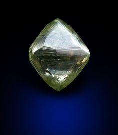 Diamond (0.61 carat green octahedral crystal) from Orapa Mine, south of the Makgadikgadi Salt Plains, Botswana.