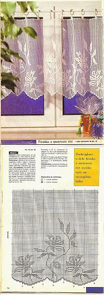 Firanki zasłonki chodniki dywaniki -również na szydełku na Stylowi.pl Crochet Curtain Pattern, Crochet Curtains, Curtain Patterns, Diy Curtains, Crochet Doilies, Crochet Lace, Valance, Filet Crochet, Thread Crochet